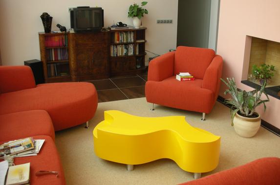 salontafel design eye catcher rond geel