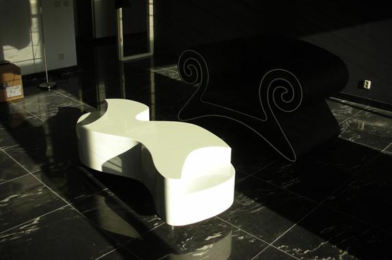 salontafel design eye catcher rond wit
