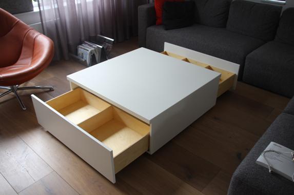 salontafel wit vierkant laden greeploos