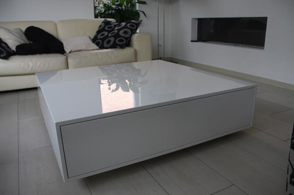 Wonderlijk design salontafel op maat, greeploos en in houtfineer of in kleur XO-48