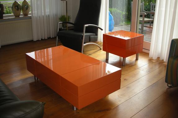 salontafel design oranje hoogglans