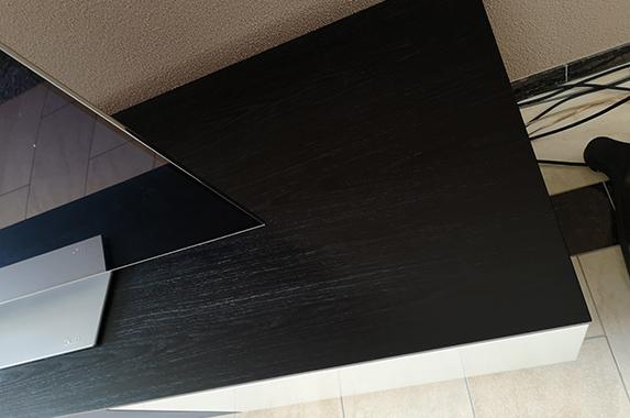 tv-kast eiken zwart akoestisch doek op maat