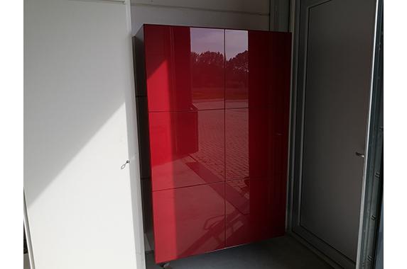 zwevende kast verstek rood op maat