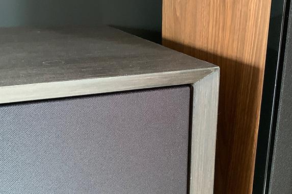 zwevende kast verstek wenge hout fineer zwart speakerdoek