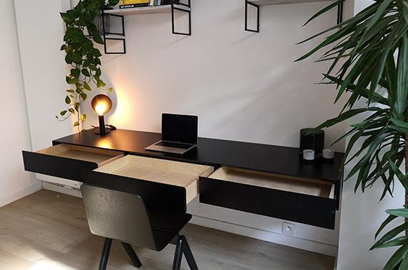 zwevend laden bureau thuis kantoor houtfineer