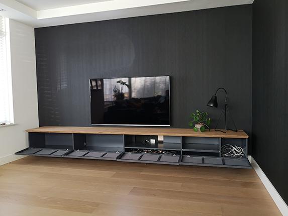 tv kast hangend verstek eiken hout fineer speakerdoek groot