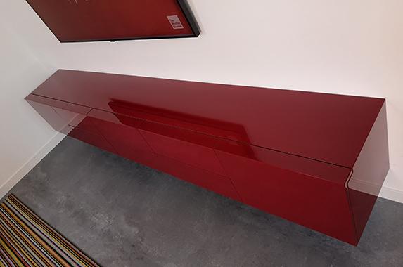 Media meubel zwevend rood